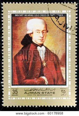 AJMAN - CIRCA 1972: A stamp printed in Ajman shows portrait of the great musician and composer Wolfgang Amadeus Mozart, circa 1972