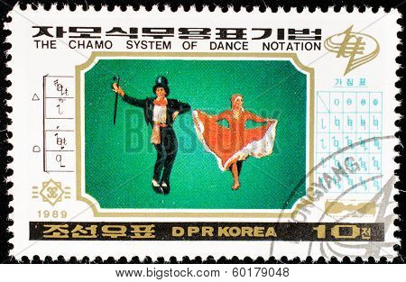 DPR KOREA - CIRCA 1989: A stamp printed in DPR KOREA shows the chamo system of dance notation, circa 1989