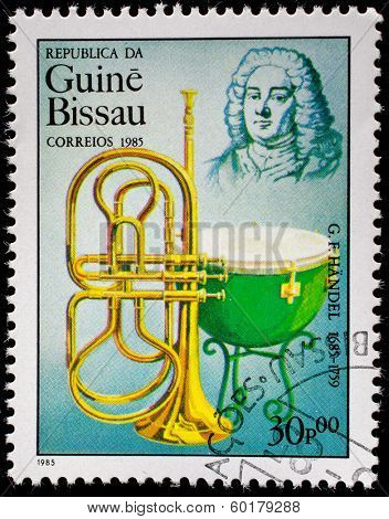 GUINEA CIRCA 1985: A stamp printed by Guinea, shows musician and composer George Frideric Handel, circa 1985