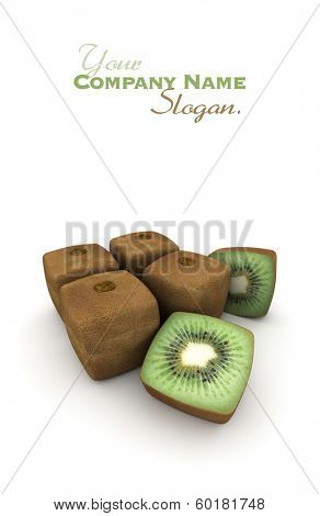 3D rendering of a group of cubic kiwis