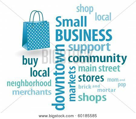 Small Business Word Cloud, Pastel Aqua Shopping Bag