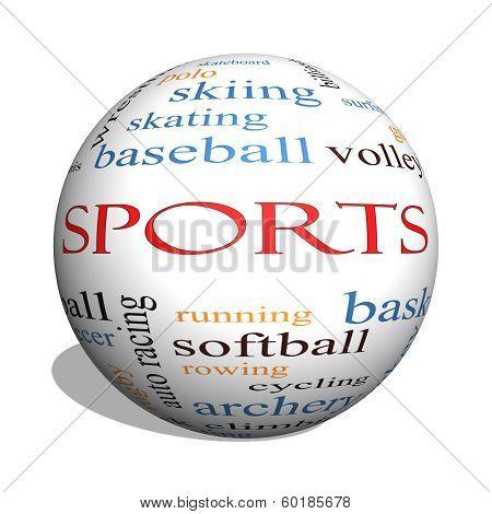 Sports 3D Sphere Word Cloud Concept