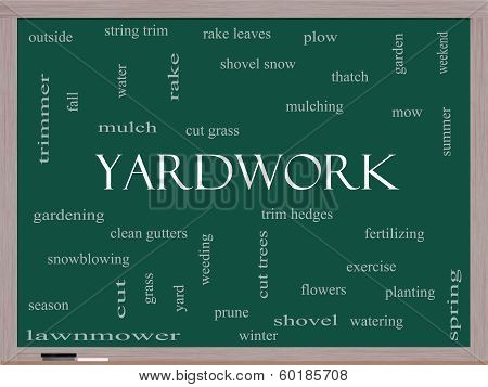 Yardwork Word Cloud Concept On A Blackboard