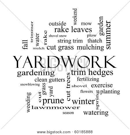 Yardwork Word Cloud Concept In Black And White