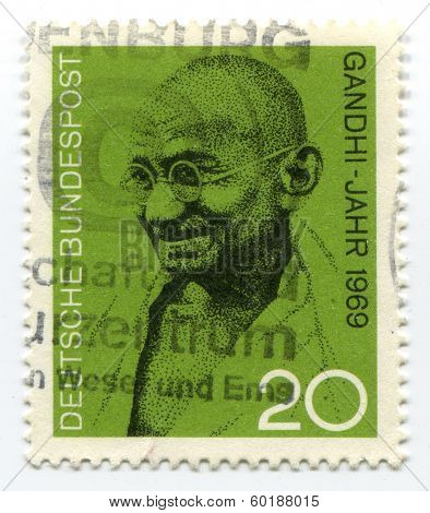 GERMANY -  CIRCA 1969: Postage stamp from Germany showing Mohandas Karamchand Gandhi, circa 1969