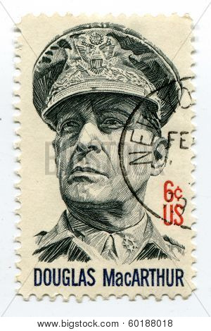 USA-CIRCA 1964: Douglas MacArthur on US postage mark, circa 1964