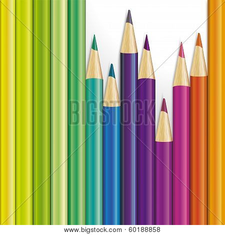 Vector background of colored pencils