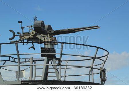 Machine gun at the USS Pampanito a Balao-class diesel-electric World War II submarine