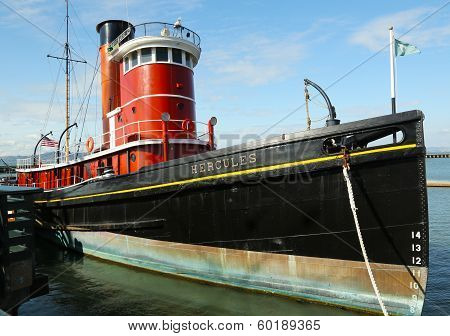 Steam tug Hercules boat in San Francisco Maritime National Historical Park