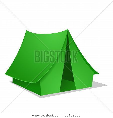 Green Camping Tent. Vector illustration