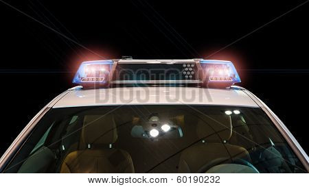 Flash Lights And Siren On The Police Car