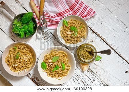 Pasta. Spaghetti Pasta With Pesto Sauce, Parmesan Cheese And Basil On A Fork. Italian. Iskolated