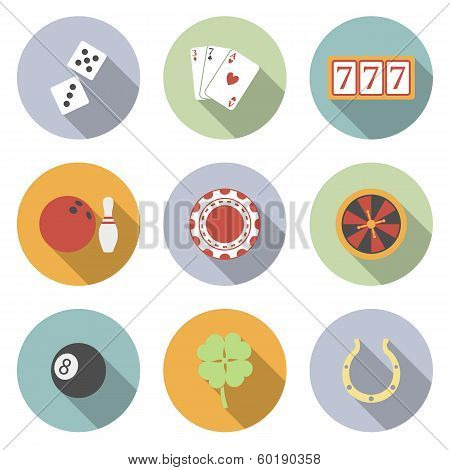 Casino And Gambling Vector Flat Icons