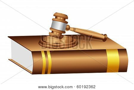 Judge Gavel Mallet On A Book