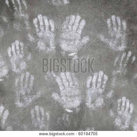 Human handprint grungy background, abstract people arms imprint backdrop, charity and help for homeless and poor persons, scary and creepy life concept