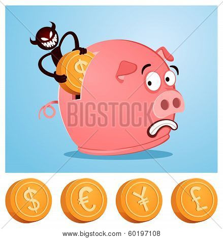 stealing money from piggybank
