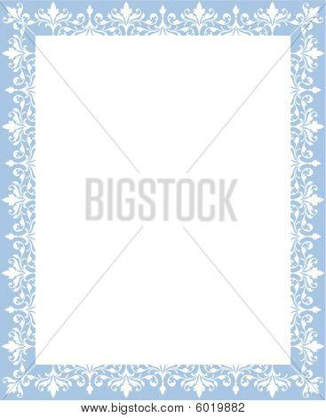 Powder Blue Scrollwork Border