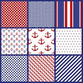 Set of  Geometric Patterns in Marine Style