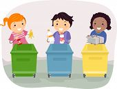 image of non-biodegradable  - Illustration of Kids Segregating Trash - JPG