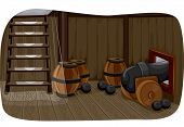 stock photo of cannonball  - Illlustration Featuring a Gun Deck Used to Store Cannonballs - JPG