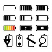 Battery charging icons set BW