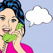 image of homemaker  - Pop Art lady chatting on the phone vector illustration - JPG