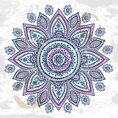 pic of mehndi  - Beautiful vintage Indian floral ornament can be used as a greeting card - JPG
