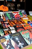 Lisbon, Portugal. May 30, 2013: Comic Books of several Marvel Super-Heroes, in the Lisbon Book Fair