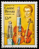 GUINEA CIRCA 1985: A stamp printed by Guinea, shows musician and composer Maria Luigi Carlo Zenobio