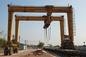 stock photo of oversize load  - Reach stacker big machine for stack container - JPG