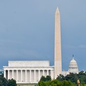 Washington DC National Mall sky line in a cloudy summer day, including Lincoln Memorial, Washington