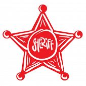 image of iron star  - sheriff star cartoon doodle - JPG