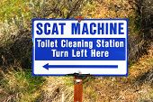 picture of excrement  - Scat Machine toilet cleaning staion in Maupin Oregon - JPG