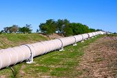 stock photo of oilfield  - Industrial white pipe for gas and oil - JPG