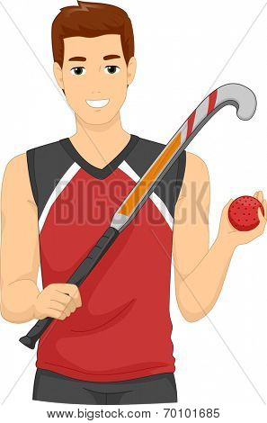 Illustration of a Man Dressed as a Field Hockey Player