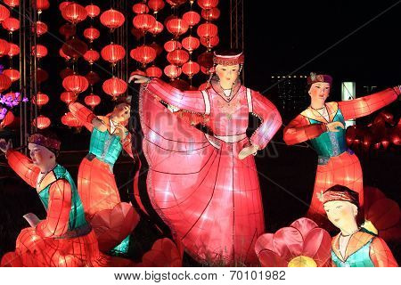 lanterns showing Chinese dance scene