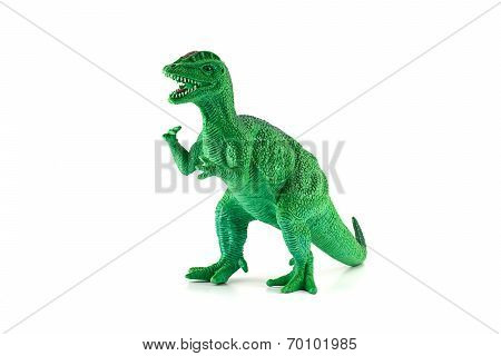Green Dilophosaurus Dinosaur Toy Figure Isolated On White.