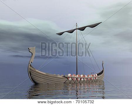 Viking drakkar - 3D render