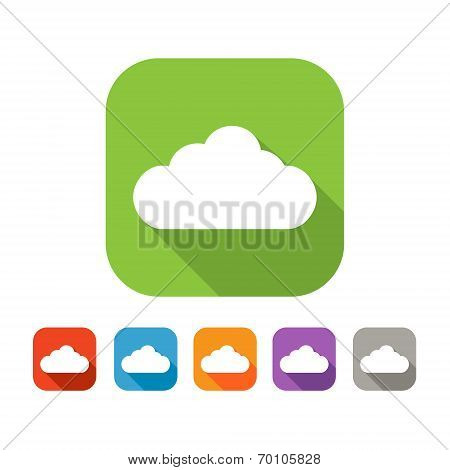 Color set of flat cloud icon