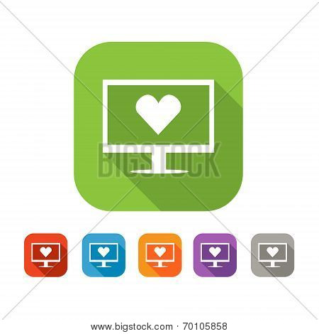 Color set of flat virtual love icon