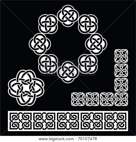 Irish Celtic patterns, knots and braids on black