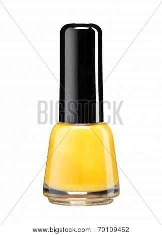 Bottle of orange nail polish