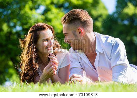 Couple laying on park lawn enjoying sun
