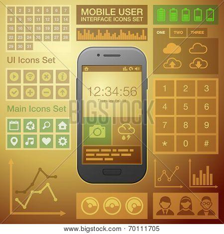 Flat Mobile UI User Interface Design Elements Kit. Vector