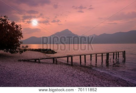Garda Lake Beach In Romantic Moonlight Scenery