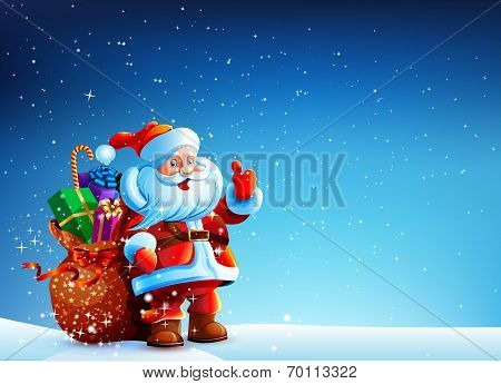 Santa Claus in the snow with a bag of gifts