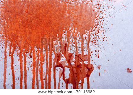 Blood splatters on gray