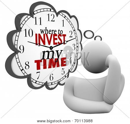Where to Invest My Time words on a clock in a thought cloud or bubble asking for priorities in spending resources