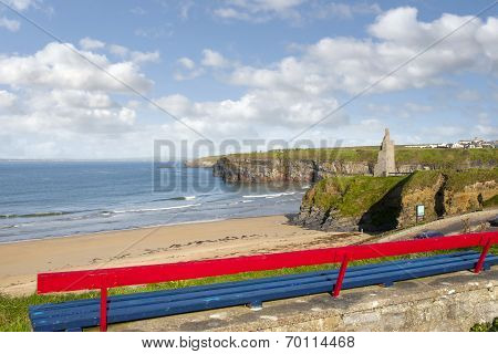 Bench View Of Ballybunion Beach Cliffs And Castle