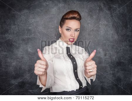 Beautiful Fashion Woman Showing Thumbs Up Sign